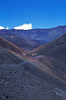 People horsebackriding on a pack-trip at Haleakala crater, Maui