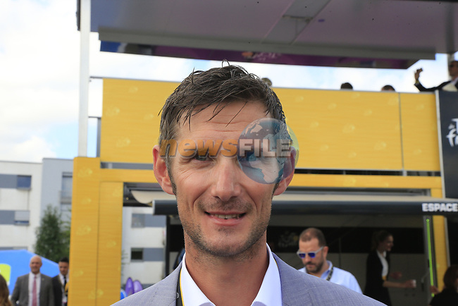 Recently retired Frank Schleck (LUX) in the Tour Village in Mondorf-les-Bains before the start of Stage 4 of the 104th edition of the Tour de France 2017, running 207.5km from Mondorf-les-Bains, Luxembourg to Vittel, France. 4th July 2017.<br /> Picture: Eoin Clarke | Cyclefile<br /> <br /> <br /> All photos usage must carry mandatory copyright credit (&copy; Cyclefile | Eoin Clarke)
