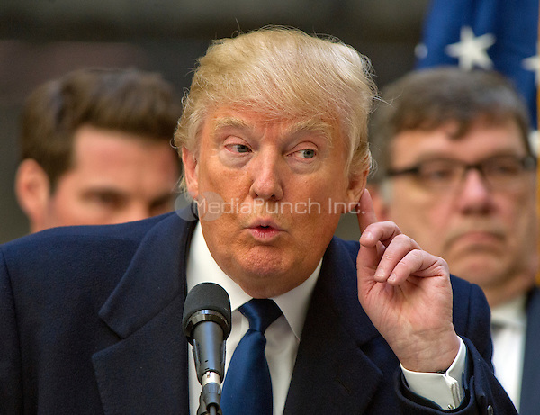 Businessman Donald Trump, a candidate for the Republican Party nomination for President of the United States, holds a press conference at the still under construction Trump International Hotel in Washington, DC on Monday March 21, 2016.<br /> Credit: Ron Sachs / CNP/MediaPunch<br /> (RESTRICTION: NO New York or New Jersey Newspapers or newspapers within a 75 mile radius of New York City)