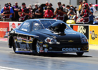 Apr. 1, 2011; Las Vegas, NV, USA: NHRA pro stock driver Erica Enders during qualifying for the Summitracing.com Nationals at The Strip in Las Vegas. Mandatory Credit: Mark J. Rebilas-
