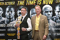 Sam Bowen (L) and Frank Warren during a Press Conference at the Landmark London Hotel on 2nd August 2018