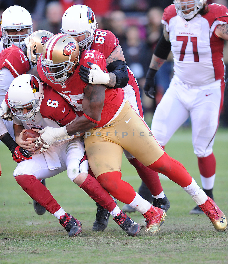 San Francisco 49ers Ricky Jean Francois (95) in action during a game against the Cardinals on December 30, 2012 at Candlestick Park in San Francisco, CA. The 49ers beat the Cardinals 27-13.