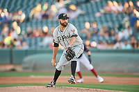 El Paso Chihuahuas starting pitcher Brett Kennedy (17) delivers a pitch to the plate against the Salt Lake Bees at Smith's Ballpark on July 5, 2018 in Salt Lake City, Utah. El Paso defeated Salt Lake 3-2. (Stephen Smith/Four Seam Images)