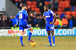Forest's Henri Lansbury and Michail Antonio look dejected following Blackpool's fourth goal - Blackpool vs. Nottingham Forest - Skybet Championship - Bloomfield Road - Blackpool - 14/02/2015 Pic Philip Oldham/Sportimage