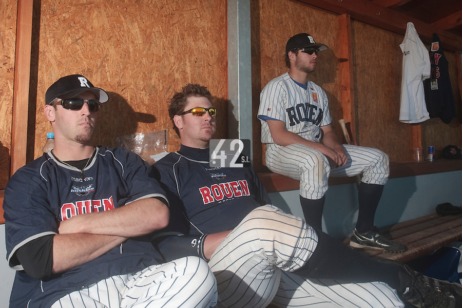 05 June 2010: Mike Musgrave, Justin Staatz and Quentin Benedek of Rouen are seen in the dugout during the 2010 Baseball European Cup match won 10-0 by Fortitudo Bologna over the Rouen Huskies, at the AVG Arena, in Brno, Czech Republic.