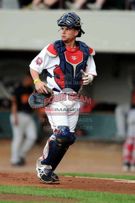 Pawtucket Red Sox catcher Christian Vazquez #17 during a game versus the Rochester Red Wings at McCoy Stadium in Pawtucket, Rhode Island on September 7, 2013. (Ken Babbitt/Four Seam Images)