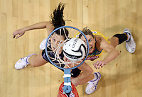 20.10.2016 Silver Ferns Bailey Mes and Australia's Clare McMeniman in action during the Silver Ferns v Australia netball test match played at ILT Stadium in Invercargill. Mandatory Photo Credit ©Michael Bradley.