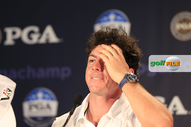 Rory McIlroy (NIR) sports a new haircut in the interview room during Wednesday's Practice Day of the 95th US PGA Championship 2013 held at Oak Hills Country Club, Rochester, New York.<br /> 7th August 2013.<br /> Picture: Eoin Clarke www.golffile.ie