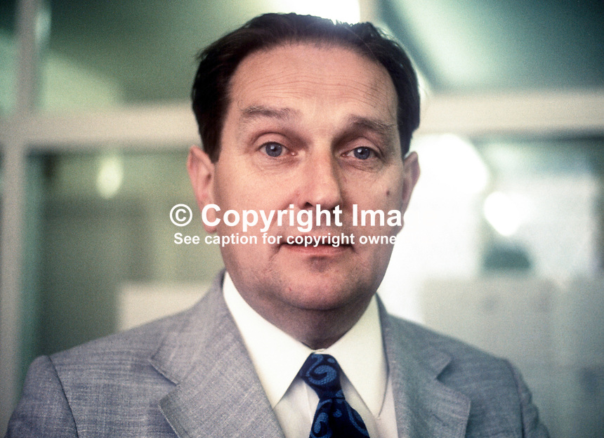 Bob Spence, aka Robert Spence, Director General, N Ireland Housing Executive, July 1974. 197407020370<br /> <br /> Copyright Image from Victor Patterson, 54 Dorchester Park, <br /> Belfast, UK, BT9 6RJ<br /> <br /> t1: +44 28 9066 1296 (from Rep of Ireland 048 9066 1296)<br /> t2: +44 28 9002 2446 (from Rep of Ireland 048 9002 2446)<br /> m: +44 7802 353836<br /> <br /> e1: victorpatterson@me.com<br /> e2: victorpatterson@gmail.com<br /> www.victorpatterson.com<br /> <br /> Please see my Terms and Conditions of Use at www.victorpatterson.com. It is IMPORTANT that you familiarise yourself with them.<br /> <br /> Images used on the Internet must be visibly watermarked i.e. &copy; Victor Patterson<br /> within the body of the image and copyright metadata must not be deleted. Images <br /> used on the Internet have a size restriction of 4kbs and will be chargeable at current<br />  NUJ rates unless agreed otherwise.<br /> <br /> This image is only available for the use of the download recipient i.e. television station, newspaper, magazine, book publisher, etc, and must not be passed on to any third <br /> party. It is also downloaded on condition that each and every usage is notified within 7 days to victorpatterson@me.com<br /> <br /> The right of Victor Patterson to be identified as the author is asserted in accordance with The Copyright Designs And Patents Act (1988). All moral rights are asserted.