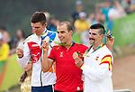 (L-R) Joroslav Kulhay (CZE), Nino Schurter (SUI), Carlos Coloma Nicolas (ESP),<br /> AUGUST 21, 2016 - Cycling :<br /> Men's Cross Country Medal Ceremony <br /> at Mountain Bike Centre <br /> during the Rio 2016 Olympic Games in Rio de Janeiro, Brazil. <br /> (Photo by Enrico Calderoni/AFLO SPORT)
