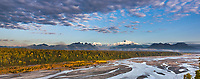 Southside view of Denali and the Chulitna river, North America's tallest peak at approximately 20,237 ft. (6,168m),  Alaska.