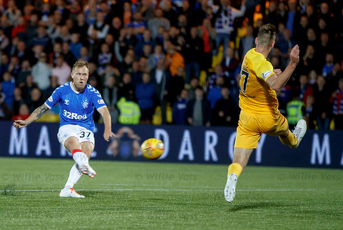 25.09.2018 Livingston v Rangers: Scott Arfield forces a great save