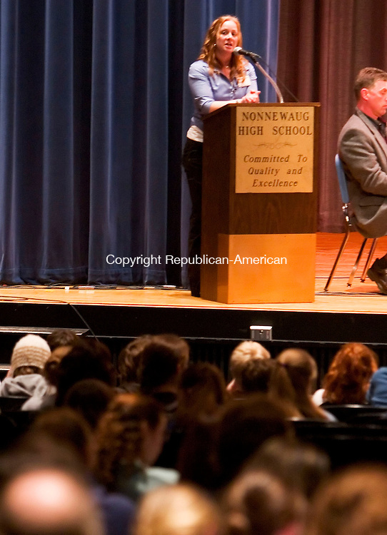 WOODBURY, CT- 04 APRIL 07- 040407JT08- <br /> Jennifer DeWitt, director of the Central Naugatuck Valley Regional Action Council, moderates a community forum on underage drinking at Nonnewaug High School in Woodbury on Wednesday. <br /> Josalee Thrift Republican-American