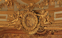 "Detail of megaphone (porte-voix) with Napoleon's gilded coat of arms, Theatre Imperial Napoleon III de Fontainebleau (Fontainebleau Theatre Napoleon III), 1853-1856, by Hector Lefuel, Fontainebleau, Seine-et-Marne, France. Restoration of the theatre began in Spring 2013 thanks to an agreement between the Emirate of Abu Dhabi and the French Governement dedicating 5 M€ to the restoration.  In recognition of the sponsorship by the Emirate of Abu Dhabi, French Governement decided to rename the theatre as ""Theatre Cheikh Khalifa bin Zayed Al Nahyan"" (Cheikh Khalifa bin Zayed Al Nahyan Theatre). The achievement of the first stage of renovation has allowed the opening of the theatre to the public on May 3, 2014. Picture by Manuel Cohen"