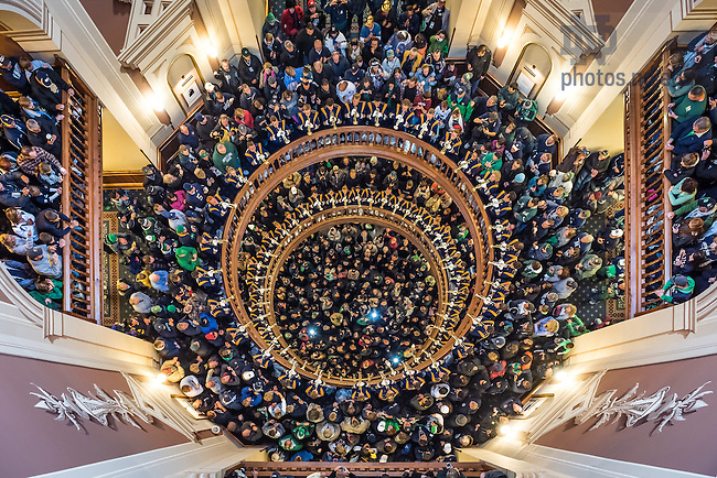 "Oct. 4, 2014; ""Trumpets Under the Dome,"" a brief performance of the Alma Mater and the Notre Dame Victory March by the trumpet section of the Notre Dame Marching Band in the Main Building rotunda on Football Saturdays. (Photo by Matt Cashore/University of Notre Dame)"