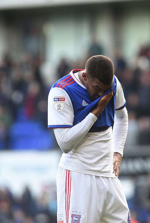 Ipswich Town's Colin Quaner wiping the tears from his face<br /> <br /> Photographer Hannah Fountain/CameraSport<br /> <br /> The EFL Sky Bet Championship - Ipswich Town v Birmingham City - Saturday 13th April 2019 - Portman Road - Ipswich<br /> <br /> World Copyright © 2019 CameraSport. All rights reserved. 43 Linden Ave. Countesthorpe. Leicester. England. LE8 5PG - Tel: +44 (0) 116 277 4147 - admin@camerasport.com - www.camerasport.com