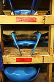 USA, Utah, Park City, luge sleds stored on shelves, Utah Olympic Park