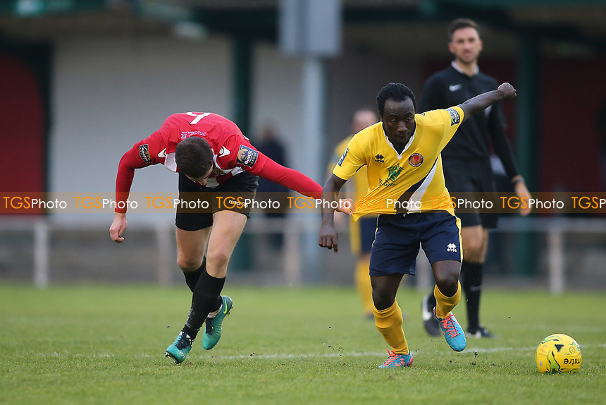 Kofi Gyebi of Witham evades Jed Chouman of Hornchurch during AFC Hornchurch vs Witham Town, Bostik League Division 1 North Football at Hornchurch Stadium on 4th November 2017