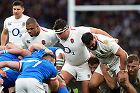 The England front row of Kyle Sinckler, Jamie George and Ellis Genge pack down for a scrum. Guinness Six Nations match between England and Italy on March 9, 2019 at Twickenham Stadium in London, England. Photo by: Patrick Khachfe / Onside Images