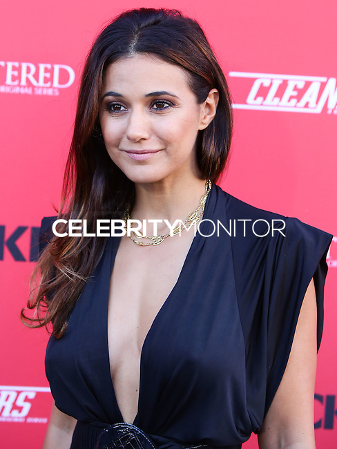 "WEST HOLLYWOOD, CA, USA - AUGUST 14: Actress Emmanuelle Chriqui arrives at the Los Angeles Premiere Of Crackle's ""Sequestered"" And ""Cleaners"" held at 1 OAK on August 14, 2014 in West Hollywood, California, United States. (Photo by Xavier Collin/Celebrity Monitor)"