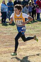 St. Vincent senior Levi Krauss kicks to a 3rd-place finish in the Class 1 Boy's race at the 2015 MSHSAA State Cross Country Championships.
