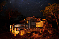 Truck drivers Nick and Joanna Atkins' road train parked up for the night at Rocky Creek Crossing on the Gibb River-Kalumburu Road.  ''We aren't rich but we are always on holidays'', says Joanna.