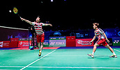 17th March 2018, Arena Birmingham, Birmingham, England; Yonex All England Open Badminton Championships; MarcusFernaldi Gideon (INA) and Kevin Sanjaya Sukamuljo (INA) in their semi-final match against Mads Conrad-Petersen (DEN) and Mads Pieler Kolding (DEN)