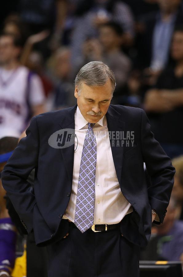 Jan. 30, 2013; Phoenix, AZ, USA: Los Angeles Lakers head coach Mike D'Antoni against the Phoenix Suns at the US Airways Center. Mandatory Credit: Mark J. Rebilas-
