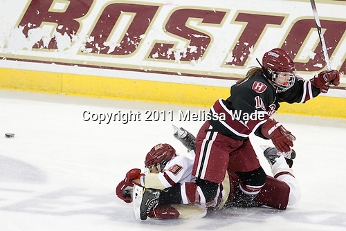 Blake Bolden (BC - 10), Gina McDonald (Harvard - 10) - The Boston College Eagles defeated the Harvard University Crimson 3-1 to win the 2011 Beanpot championship on Tuesday, February 15, 2011, at Conte Forum in Chestnut Hill, Massachusetts.