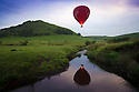 20/09/16 <br /> <br /> With the Autumn Equinox only a day away, a hot balloon is reflected in the river Dove as it launches on its last flight of the summer just after dawn above Parkhouse Hill in the Derbyshire Peak District.<br /> <br /> All Rights Reserved: F Stop Press Ltd. +44(0)1773 550665   www.fstoppress.com