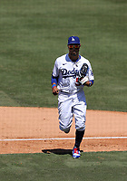 25th July 2020, Los Angeles, California, USA;  Los Angeles Dodgers outfielder Mookie Betts (50) runs off the field during the game against the San Francisco Giants on July 25, 2020, at Dodger Stadium in Los Angeles, CA.
