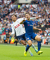 Tottenham's Dele Alli and Chelsea's Cesar Azpilicueta during the Premier League match between Tottenham Hotspur and Chelsea at Wembley Stadium, London, England on 20 August 2017. Photo by Andrew Aleksiejczuk / PRiME Media Images.