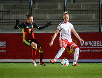 20161128 - TUBIZE ,  BELGIUM : Belgian Lorca Van De Putte (L) and Danish Sanne Troelsgaard (R) pictured during the female soccer game between the Belgian Red Flames and Denmark , a friendly game before the European Championship in The Netherlands 2017  , Monday 28 th November 2016 at Stade Leburton in Tubize , Belgium. PHOTO SPORTPIX.BE | DIRK VUYLSTEKE