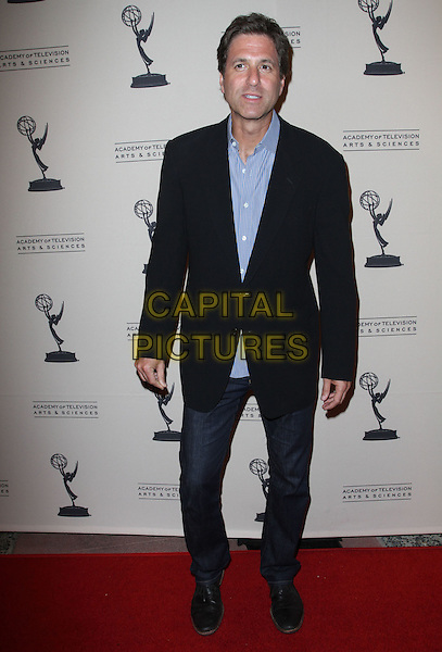 Steve Levitan.63rd Primetime Emmy Writers Nominee Reception Held at Leonard H. Goldenson Theatre, North Hollywood, California, USA..full length black suit blue shirt jeans denim .CAP/ADM/KB.©Kevan Brooks/AdMedia/Capital Pictures.