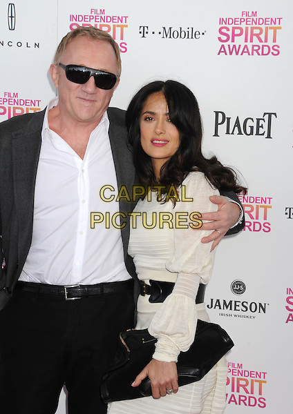 Francois-Henri Pinault & Salma Hayek.2013 Film Independent Spirit Awards - Arrivals Held At Santa Monica Beach, Santa Monica, California, USA,.23rd February 2013..indy indie indies indys half length white shirt dress suit arm over shoulder around black belt clutch bag side married husband wife .CAP/ROT/TM.©Tony Michaels/Roth Stock/Capital Pictures