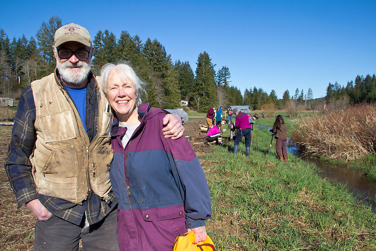 Norm Norton, Ellen O'Shea, farmers, permaculture farming, Eaglemount Farms, Chimacum Creek, North Olympic Salmon Coalition, Jefferson County, Washington State, Pacific Northwest, United States, habitat restoration,