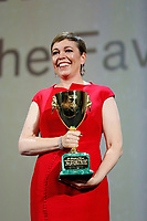 VENICE - September 8: Olivia Colman recives Coppa Volpi on September 8, 2018 in Venice, Italy.(By Mark Cape/Insidefoto)