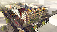 IDEA 1 for San Diego's design + technology innovation hub, East Village. SW Perspective. Project will mix uses--office, residential, retail. Caroline Kreiser, architect.