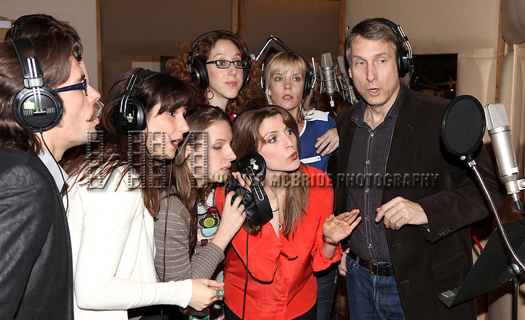 Stephanie J. Block, Jessie Mueller & Gregg Edelman with Ensemble  recording the 2012 Original Broadway Cast Recording of 'The Mystery of Edwin Drood' at the KAS Music & Sound Studios in Astoria, New York on December 10, 2012