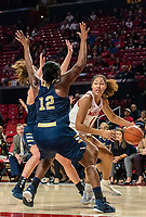 COLLEGE PARK, MD - NOVEMBER 20: Shakira Austin #1 of Maryland dribbles towards Olivia Gumbs #12 of George Washington during a game between George Washington University and University of Maryland at Xfinity Center on November 20, 2019 in College Park, Maryland.
