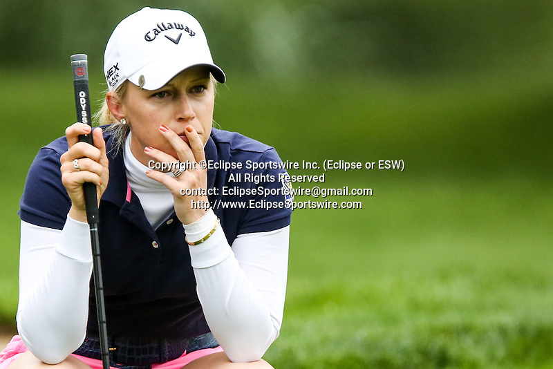 American Morgan Pressel reviews the second hole at the LPGA Championship at Locust Hill Country Club in Pittsford, NY on June 7, 2013