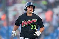 Justin Yurchak (33) of the Great Falls Voyagers returns to the dugout after hitting a home run against the Helena Brewers at Centene Stadium on August 18, 2017 in Helena, Montana.  The Voyagers defeated the Brewers 10-7.  (Brian Westerholt/Four Seam Images)