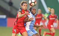 Portland, OR - Saturday August 19, 2017: Emily Menges, Nichelle Prince during a regular season National Women's Soccer League (NWSL) match between the Portland Thorns FC and the Houston Dash at Providence Park.