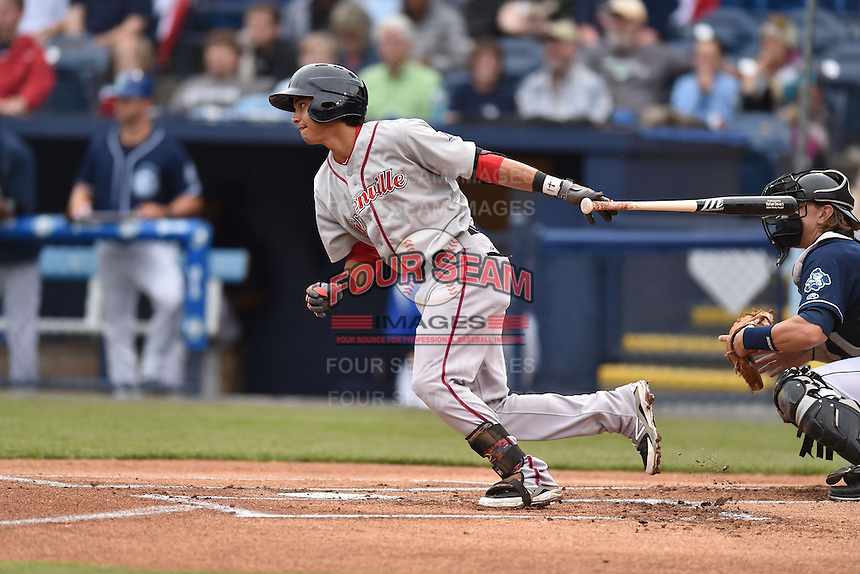Greenville Drive second baseman Mauricio Dubon (10) swings at a pitch during game two of a double header against the Asheville Tourists on April 18, 2015 in Asheville, North Carolina. The Drive defeated the Tourists 10-4. (Tony Farlow/Four Seam Images)