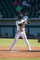 Mesa Solar Sox center fielder Luis Barrera (7), of the Oakland Athletics organization, at bat during an Arizona Fall League game against the Peoria Javelinas at Sloan Park on October 24, 2018 in Mesa, Arizona. Mesa defeated Peoria 4-3. (Zachary Lucy/Four Seam Images)