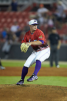 South Division pitcher Matt Foster (14) of the Winston-Salem Dash in action during the 2018 Carolina League All-Star Classic at Five County Stadium on June 19, 2018 in Zebulon, North Carolina. The South All-Stars defeated the North All-Stars 7-6.  (Brian Westerholt/Four Seam Images)
