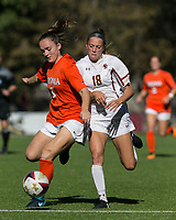 Newton, Massachusetts - October 22, 2017: NCAA Division I. University of Virginia (orange/white) defeated Boston College (white), 2-1, at Newton Campus Soccer Field.