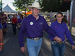 """A photograph taken during Purple Night at the Rodeo on Tuesday night, June 21, 2016.  """"Man Up Crusade Night"""" encouraged rodeo goers to wear purple for advocacy to stop domestic violence."""