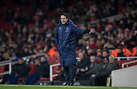 Arsenal Manager Unai Emery during the UEFA Europa League match between Arsenal and Qarabag FK at the Emirates Stadium, London, England on 13 December 2018. Photo by Andy Rowland.