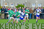 Gary Sayers Keel leaves Marcus Mangan (left) and Mike Burke Milltown/Castlemaine in his wake during the mid Kerry final in Beaufort on Sunday.